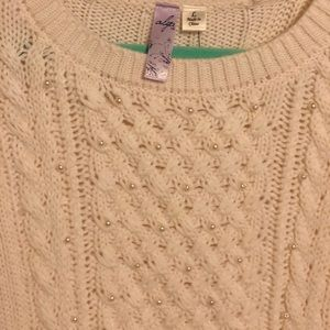Oversized Ivory Sweater with Pearl Detail